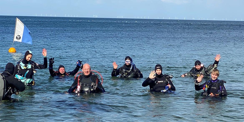 Acht Taucher im Meer